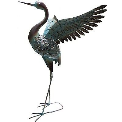 Primus Ornate Solar Crane Metal Garden Ornament Sculpture