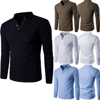 c713f1ac Men's Slim Fit V Neck Long Sleeve Muscle Tee T-shirt Casual Tops Henley  Shirts