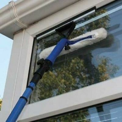 Telescopic Window Cleaner Kit,Pole 3.5M,Cleaning Equipment Squeegee + Soft Head