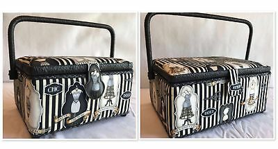 Luxury Sewing Basket Black/Cream Dressmakers - 2 Sizes - Craft Storage Gift