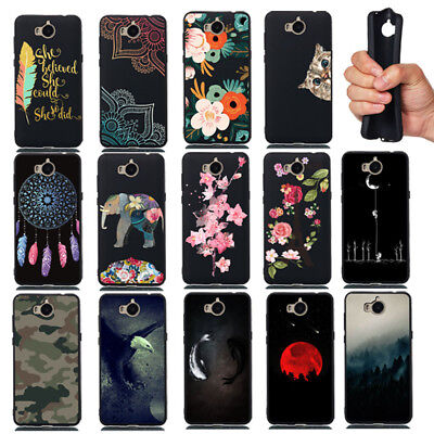For Huawei Y5 Y6 2017 Y9 Y7 Pro 2018 Shockproof Soft Painted TPU Back Case Cover