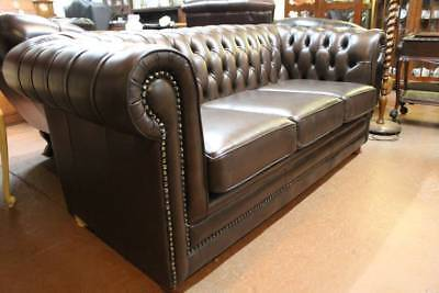 A High Quality Australian Made 100% Cow Leather Chesterfield 3 Seater Sofa