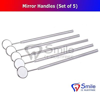Set Of 5 Mouth Mirror Handle With Mirror Oral Teeth Cleaning Inspection Tool New