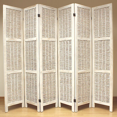 Cream 6 Panel Wood Frame Wicker Room Divider Privacy Screen/Separator/Partition