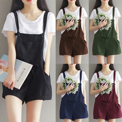 AU Women 100%Cotton Strappy Dungaree Mini Playsuit Loose Jumpsuit Overall Shorts