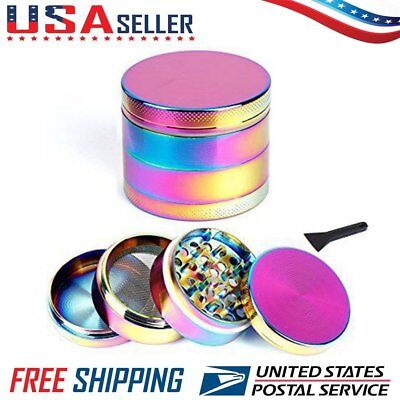 4-Piece Tobacco Herb Spice Grinder Herbal Smoke Metal Chromium Crusher Rainbow