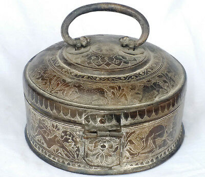 Vintage Indian Handmade Old Bronze Round Box And Ancient Time History On Box