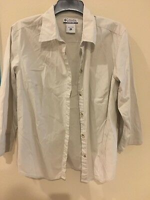 28399cef35e COLUMBIA Women's size Large Button Down Shirt Top 3/4 Sleeve Khaki Career