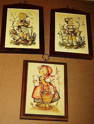 3 Hummel Children Wood Framed Hanging 3 Vintage Prints