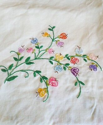 """Large Vintage Embroidered Lacey Edge Tablecloth 58"""" X 68"""""""