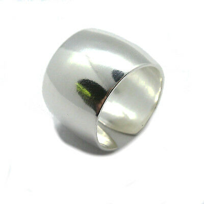 Genuine sterling silver ring solid hallmarked 925 wide plain band R001804