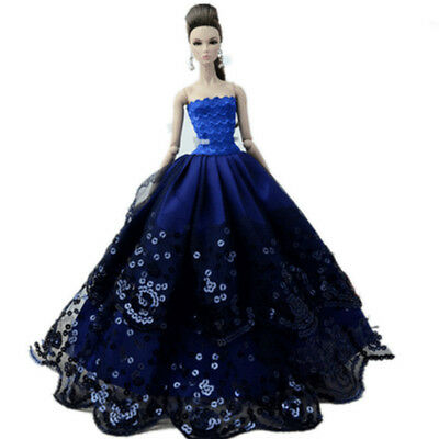 New Barbie Doll Sequins Party Costume Clothing Lace Wedding Dress Trailing Dress