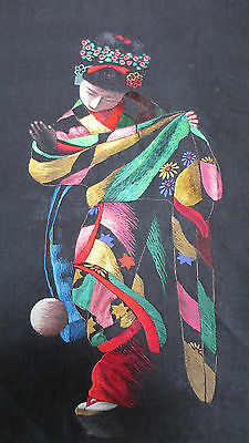 Vintage Japanese Geisha with Ball~Fine Silk Needlework on Silk~Irridescent Color