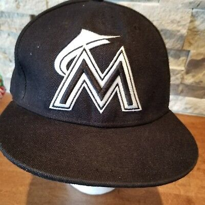 quality design f8edd cd67a MIAMI MARLINS Black White New Era 59fifty MLB baseball Cap Hat Fitted 7 ...