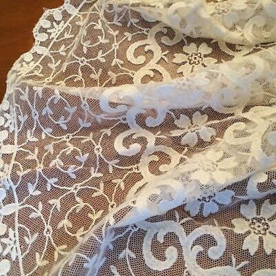 """ANTIQUE? VTG  3PC ivory tambour net lace table runner scarf 39x13 29x13 15x8"""""""