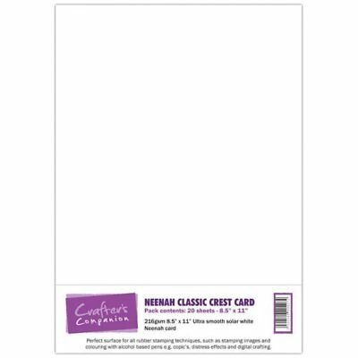 Crafters Companion Pack of 16 A4 Solar White Neenah Classic Crest Card Colouring