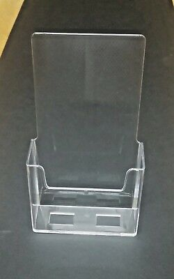 Lot of 5 Clear acrylic trifold brochure holder pamphlet display stand 4.25X7.25