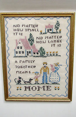 "SAMPLER, ANTIQUE, FRAMED, 11"" x 14"", 'HOME' CROSS STITCHED ON LINEN, RESTORED"