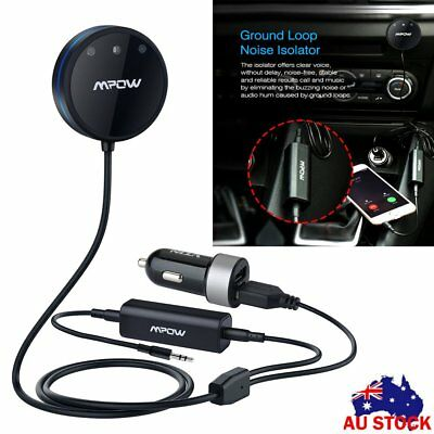 MPOW Bluetooth Receiver Aux Adapter Car Audio 3.5mm USB Charger Noise Isolator