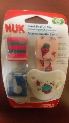 NUK Fashion Pacifier Clip CupCake with 3 Interchangeable fashion strips NEW See