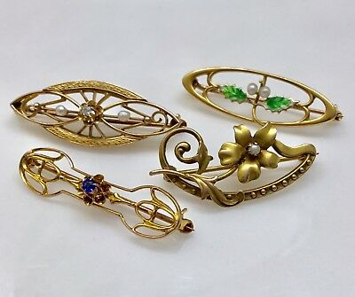 Lot of four antique victorian gold diamond Nouveau Art Deco enamel pin brooch