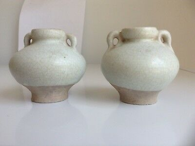 A Pair Of Thai Antique Sukhothai Celadon light blue glazed small jarlet with ear