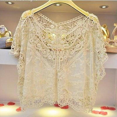 Good Fashion Womens Casual Hollow Lace Beiges Loose Batwing Sleeve Shirt Tops