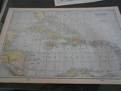 Antique Map of West Indies, George F. Cram, 1901