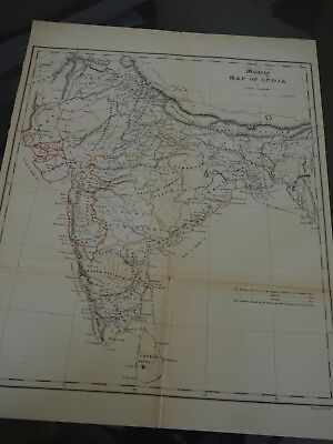 John Walker's Military Map of India, Vintage, 1830's, Good Condition