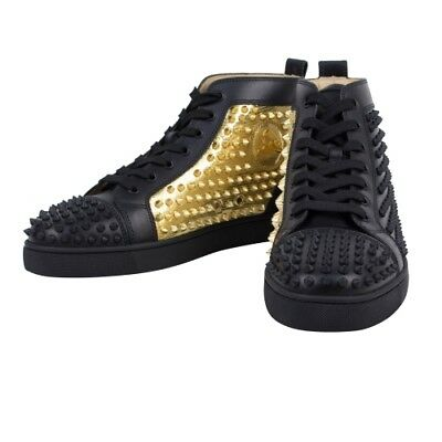 new styles 86250 b1ebf NIB CHRISTIAN LOUBOUTIN 'Yang Louis' Black/Gold Leather Spike Sneakers 7/40