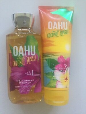 Bath & Body Works Oahu Coconut Sunset Body Cream and Shower Gel Set of 2