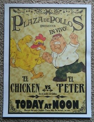 """Family Guy Limited Edition Print 2005 Peter Vs Chicken LE 100 22""""x17"""""""