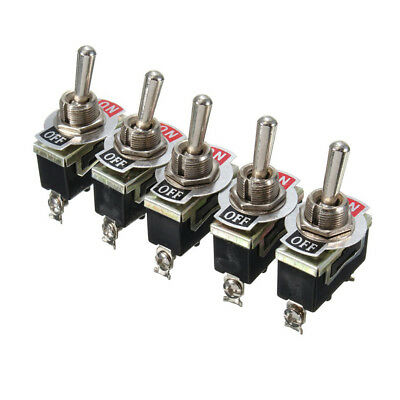 5x 15A 250V SPST Control 2Pins ON/OFF Toggle Switch Waterproof Boot For Car Boat