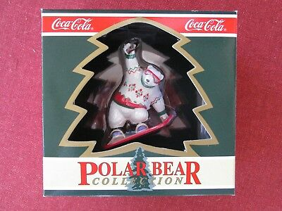 1995 COCA-COLA Polar Bear Collection Bear on a Snow Board  NEW in Box