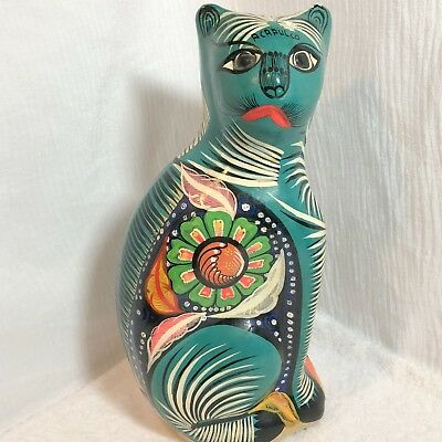 "Vintage Folk Art 13"" Cat Figurine Green Mexican Pottery Acapulco"