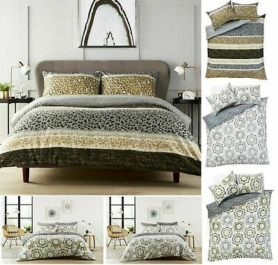 Inky Floral Grey Blue & Purple Duvet Cover With Pillowcase  Bedding Set All Size