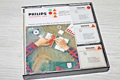 PHILIPS Neuwertig Tonband Cutterbox SK10 Magnetic Tape Splicing Kit von 1967
