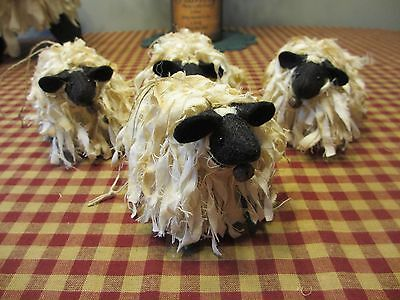 Primitive Handcrafted Grubby Sheep Ornies* Bowl Fillers* Country*  Set//3*