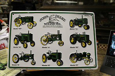 "Embossed John Deere Models Metal Sign Advertising 12"" x 18"""