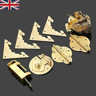 Quick Ship Hardware Chinese Brass Hinges Latch Jewelry Box Handle Corners Set UK