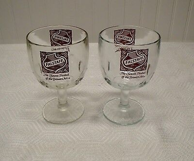 Vintage Falstaff Beer Thumbprint Glasses Ships Free!