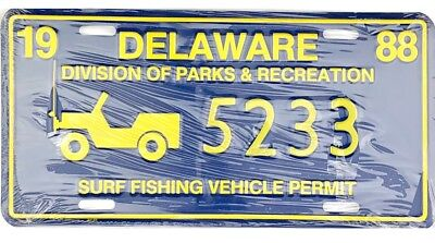 NOS UNISSUED 1988 Delaware SURF FISHING VEHICLE License Plate #5233