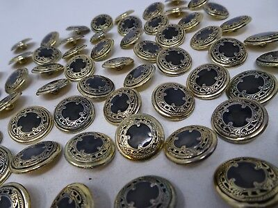 Vintage Ornate Gold Black Shank Buttons with Character 19mm Lot of 2  A405