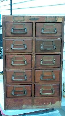Vintage Remington Rand Guardsman Card Filing Catalog index cabinet 10 drawers