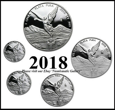 2018 Mexico 5-Coin Silver Libertad Proof Set in capsules