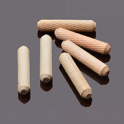 6mm x60mm Diameter Grooved Fluted Wooden Wood Dowels Pins for Woodworking Craft