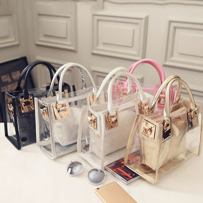 Luxury Transparent Handbag Bag Clear Jelly Purse Women Clutch Plastic Tote Sweet