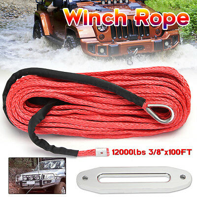 12mm x 30m Synthetic Winch Line Cable Rope12000 LBs with Sheath SUV ATV Vehicle