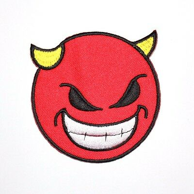 Red Smiley Devil Evil Satan Face Helloween Funny Clothing Applique Iron on Patch