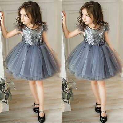 US Stock Baby Kids Girls Princess Party Pageant Wedding Tulle Tutu Sequin Dress